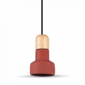 Κρεμαστό Φωτιστικό 1Φ Τσιμεντένιο (+ Ξύλο) Κόκκινο V-TAC 3857