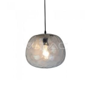 Κρεμαστό Φωτιστικό Designer Glass Διάφανο Γυαλί και Μέταλλο Φ 250 V-TAC 3882