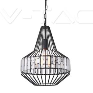 Κρεμαστό Φωτιστικό Μεταλλικό Μαύρο και Κρύσταλλο V-TAC 3955
