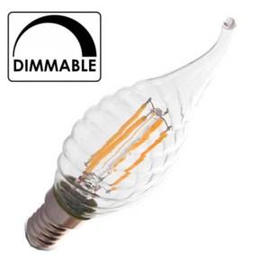 Λάμπα Κερί Ακίδα Twist Led 4W 2700K Θερμό Λευκό Dimmable E14