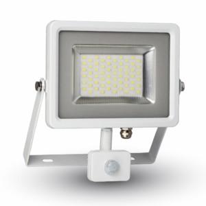 Προβολέας LED 50W Sensor 3000K-Θερμό Λευκό SMD V-TAC 5758 Λευκός-Γκρί