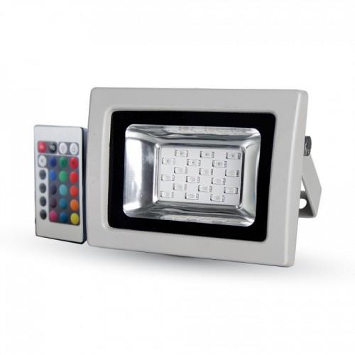 Προβολέας LED 10W RGB Υπέρυθρος Με Τηλεχειριστήριο SMD V-TAC 5895 Γκρί