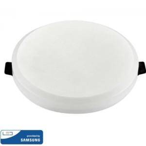 LED Mini Panel Στρογγυλό Χωνευτό Χωρίς Πλαίσιο Quick Connector 15W SMD 220-240V ABS Samsung Chip Θερμό Λευκό 3000K V-Tac 620