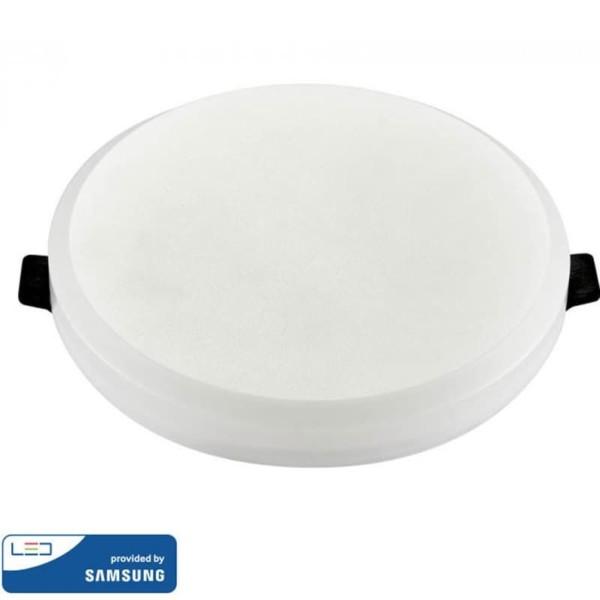 LED Mini Panel Στρογγυλό Χωνευτό Χωρίς Πλαίσιο Quick Connector 8W SMD 220-240V ABS Samsung Chip Θερμό Λευκό 3000K V-Tac 626
