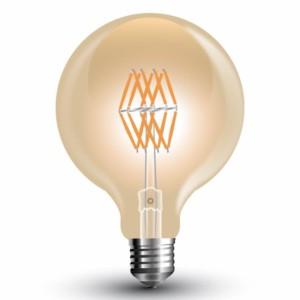 25507145-555-Λάμπα Led AMBER Filament G95 Globe 8W 2200K Θερμό Λευκό E27 V-Tac 7145