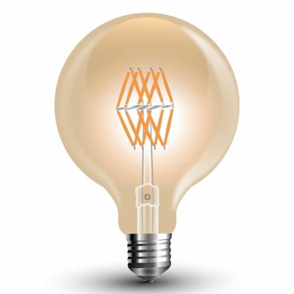 Λάμπα Led AMBER Filament G95 Globe 8W 2200K Θερμό Λευκό E27 V-Tac 7145