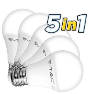 5 Λάμπες Led 9W E27 Θερμοπλαστικές Κλασσικές 2700K V-Tac 5 Χ 7260 806 lumens