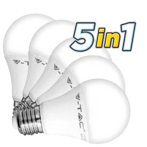 5 Λάμπες Led 9W E27 Θερμοπλαστικές Κλασσικές 4000K V-Tac 5 Χ 7261 806 lumens
