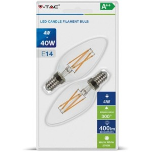Λάμπα LED Dimmable Κερί Cross Filament 4W E14 2700K Θερμό Λευκό 2 τεμάχια Blister V-TAC 7284