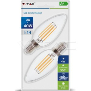 Λάμπα LED Κερί Filament 4W E14 2700K Θερμό Λευκό 2 τεμάχια Blister V-TAC 7365