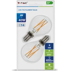 Λάμπα LED P45 Cross Filament 4W E14 2700K Θερμό Λευκό 2 τεμάχια Blister V-TAC 7366