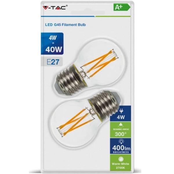 Λάμπα LED P45 Cross Filament 4W E27 2700K Θερμό Λευκό 2 τεμάχια Blister V-TAC 7367