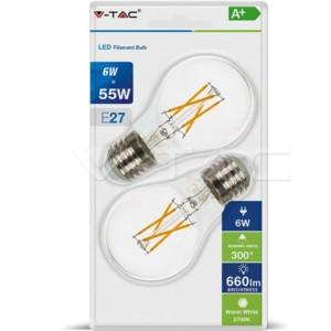 Λάμπα A60 Cross Filament 6W E27 2700K Θερμό Λευκό 2 τεμάχια Blister V-TAC 7368