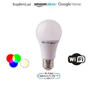 Έξυπνη Λάμπα LED V-TAC 7452 E27 9W A60 RGB+ Ψυχρό Λευκό 6000Κ Ροοστατούμενη Συμβατή με Amazon Alexa και Google Home