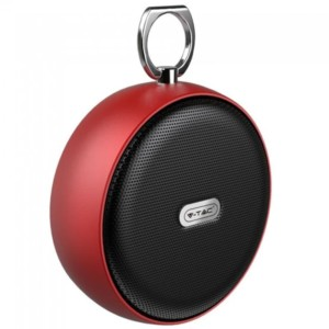Φορητό Στρογγυλό Μίνι Ηχείο Bluetooth 4W Κόκκινο για TF Κάρτα και Ενσωματωμένο Μικρόφωνο V-Tac 7716