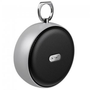 Φορητό Στρογγυλό Μίνι Ηχείο Bluetooth 4W Ασημί για TF Κάρτα και Ενσωματωμένο Μικρόφωνο V-Tac 7717