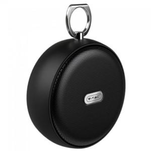 Φορητό Στρογγυλό Μίνι Ηχείο Bluetooth 4W Μαύρο για TF Κάρτα και Ενσωματωμένο Μικρόφωνο V-Tac 7718