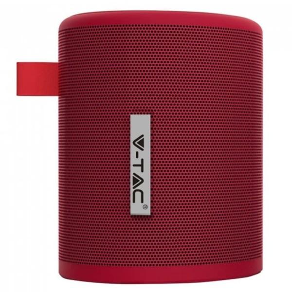 Φορητό Μίνι Ηχείο Bluetooth 5W Κόκκινο για TF Κάρτα και Ενσωματωμένο Μικρόφωνο V-Tac 7719