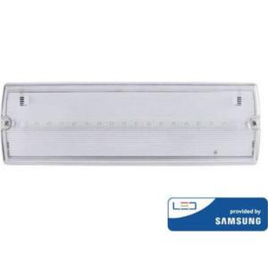 Φωτιστικό Ασφαλείας LED 3W 16SMD 140lms Τοίχου IP65 SAMSUNG CHIP 12Hrs 6000K V-Tac 837