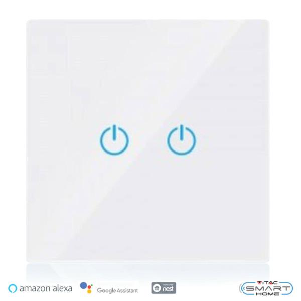 WiFi Διακόπτης Αφής Διπλός Γυαλί Λευκός Συμβατός με Amazon Alexa & Google Home V-Tac 8418