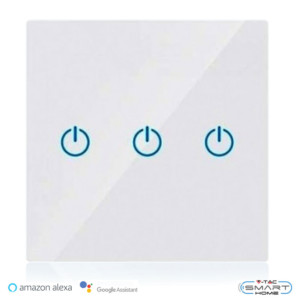 WiFi Διακόπτης Αφής Τριπλός Γυαλί Λευκός Συμβατός με Amazon Alexa & Google Home V-Tac 8419
