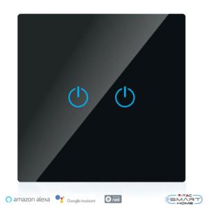 WiFi Διακόπτης Αφής Διπλός Γυαλί Μαύρο Συμβατός με Amazon Alexa & Google Home V-Tac 8424