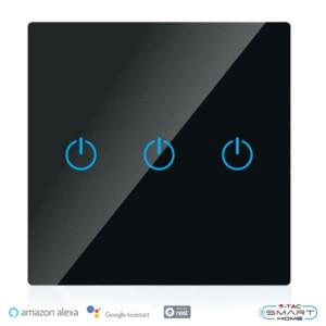 WiFi Διακόπτης Αφής Τριπλός Γυαλί Μαύρο Συμβατός με Amazon Alexa & Google Home V-Tac 8425