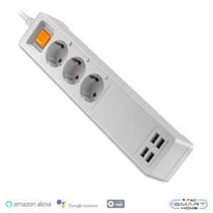 WiFi Πολύπριζο 3 θέσεων με Διακόπτη και 4 θύρες USB Συμβατό με Amazon Alexa & Google Home V-Tac 8447
