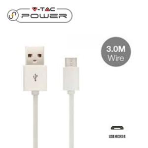 Καλώδιο Micro USB 3.0m Λευκό V-TAC 8451