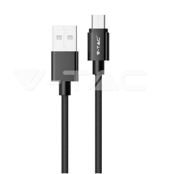 Καλώδιο Micro USB 1M Σειρά Silver 1.0A Μαύρο V-Tac 8485