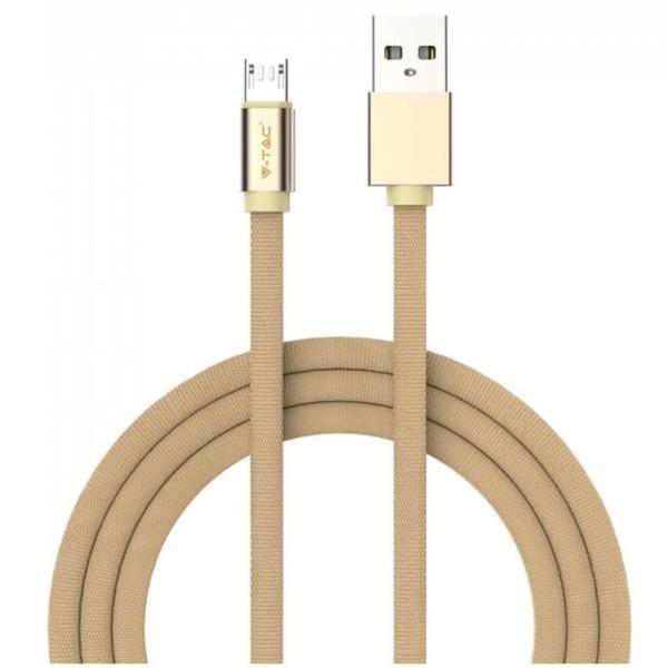 Καλώδιο Φόρτισης Ruby Series 1m 2.4A Micro USB Χρυσό V-TAC 8495