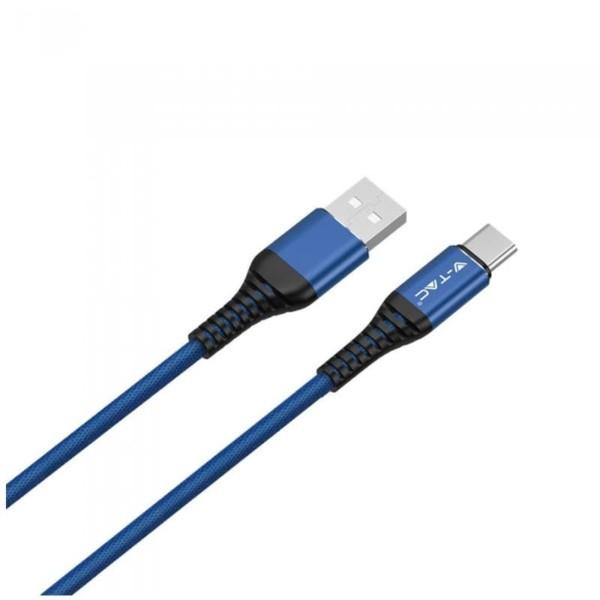 Καλώδιο Type C USB 1M Σειρά Gold 2.4A Μπλέ V-Tac 8633
