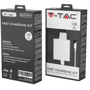 Φορτιστής Ταχείας Φόρτισης 3.0A 18W Με Καλώδιο Micro USB Λευκός V-TAC 8641
