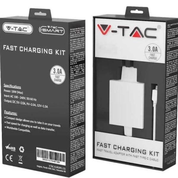 Φορτιστής Ταχείας Φόρτισης 3.0A 18W Με Καλώδιο Type C Λευκός V-TAC 8643