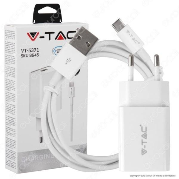 Φορτιστής Κινητού Λευκός 2.1Α με Καλώδιο Type C V-Tac 8647