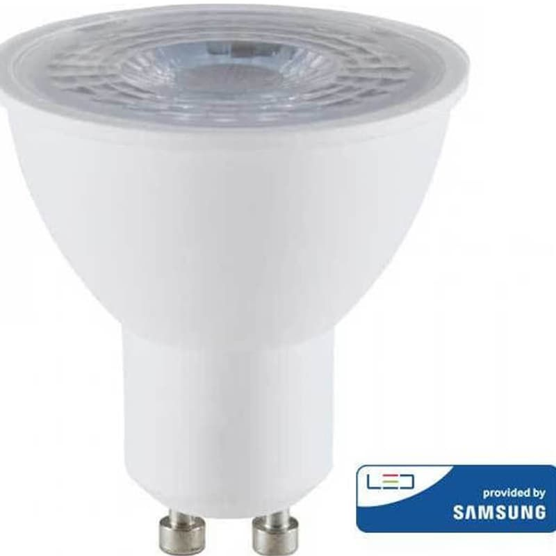 LED Πλαστικό Spot GU10 SMD 8W 110° Με Φακό Samsung Chip Ψυχρό Λευκό-6400K V-Tac 874