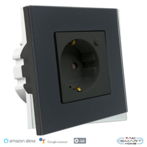WiFi Πρίζα Γυαλί Μαύρο Συμβατή με Amazon Alexa & Google Home V-Tac 8797