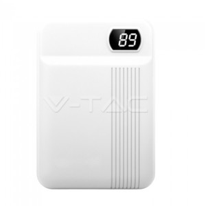 Powerbank 10000mAh Με Οθόνη και Λευκό Σώμα με 2 θύρες V-TAC 8851