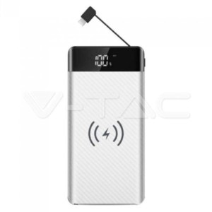 Powerbank 20000mAh Wireless με Οθόνη Type C και Micro USB Λευκό Σώμα V-TAC 8860