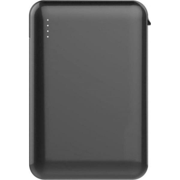 Super Small Powerbank 5000mAh Μαύρο Με Ενσωματωμένο καλώδιο V-TAC 8865