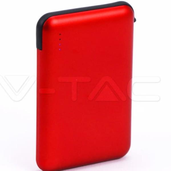 Super Small Powerbank 5000mAh Κόκκινο Με Ενσωματωμένο καλώδιο V-TAC 8866