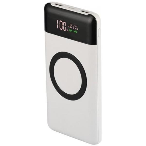 Powerbank 10000mAh Ασύρματη Φόρτιση με Οθόνη και 2 Θύρες USB/Micro USB-Type C Λευκό Σώμα V-TAC 8906