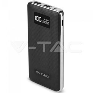 Powerbank 10000mAh Μαύρο Σώμα Φινίρισμα Δέρμα και Χρώμιο Micro USB V-TAC 8910