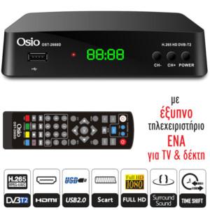 OSIO OST-2660D DVB-T/T2 FULL HD H.265 MPEG-4 ΨHΦIAKOΣ ΔΕΚΤΗΣ ΜΕ USB ΚΑΙ ΧΕΙΡΙΣΤΗΡΙΟ ΓΙΑ TV & ΔΕΚΤΗ