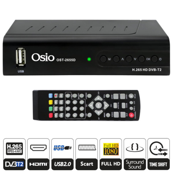 OSIO OST-2655D DVB-T/T2 FULL HD H.265 MPEG-4 ΨHΦIAKOΣ ΔΕΚΤΗΣ ΜΕ USB