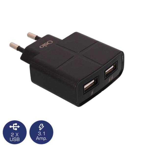 OSIO OTU-285B ΜΑΥΡΟΣ ΦΟΡΤΙΣΤΗΣ 220V ΡΕΥΜΑΤΟΣ ΓΙΑ 2 USB 5V/1000/2100mA