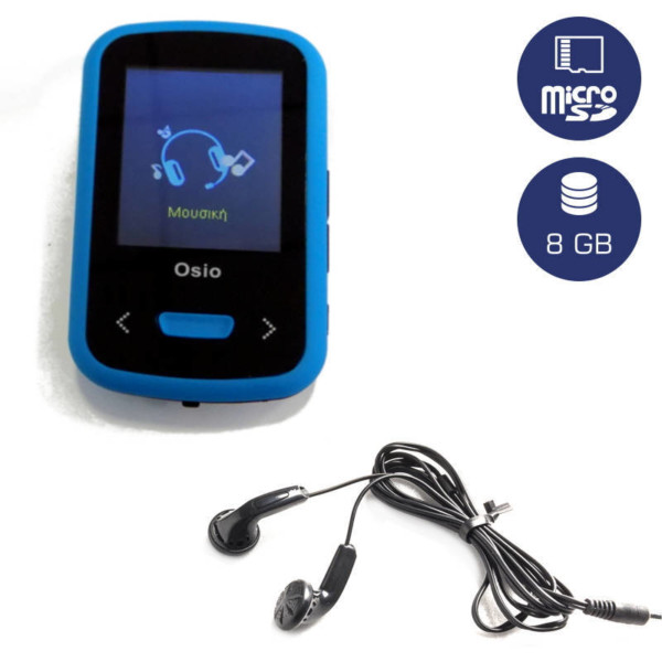 OSIO SRM-9280BB MP3 / VIDEO PLAYER ΜΕ ΚΛΙΠ ΜΠΛΕ 8GB