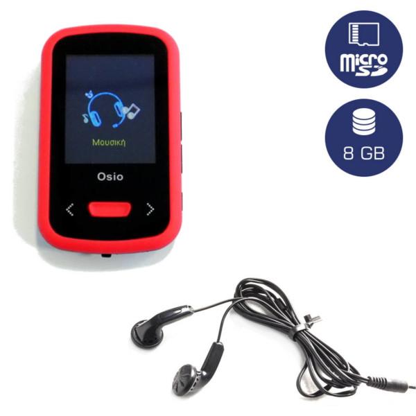 OSIO SRM-9280BR MP3 / VIDEO PLAYER ΜΕ ΚΛΙΠ ΚΟΚΚΙΝΟ 8GB