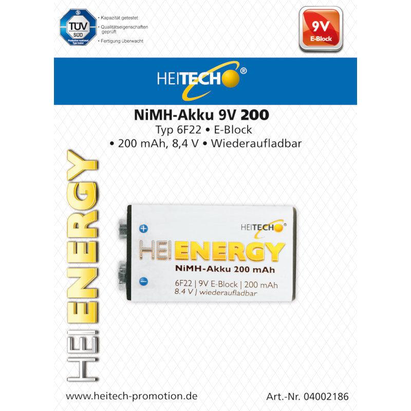 HEITECH 04002186 ΕΠΑΝΑΦΟΡΤΙΖΟΜΕΝΗ ΜΠΑΤΑΡΙΑ 200 mAh 6F22/ 9V / E-Block 8.4V