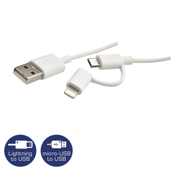 HEITECH 09001732 ΚΑΛΩΔΙΟ 2 ΣΕ 1 USB ΣΕ LIGHTNING ΚΑΙ MICRO-USB 1M ΛΕΥΚΟ